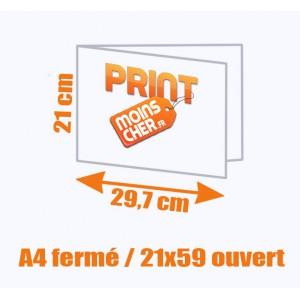 Brochure couleur 2 pics métal A4 fermé / 21x59 ouvert